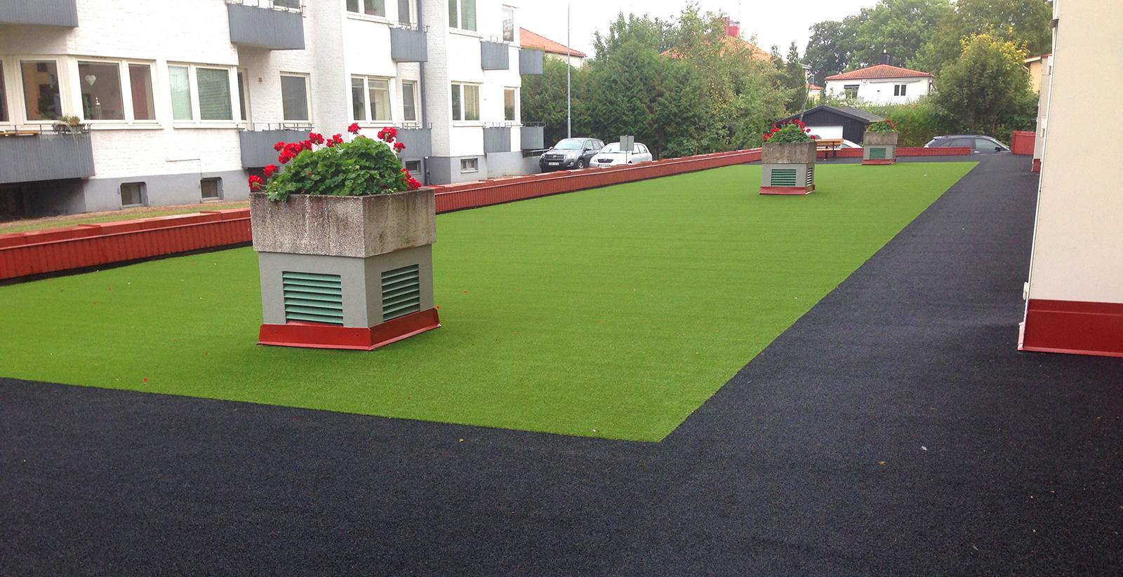 kunstgress bygård bakgård hagearbeid terrasse unisport
