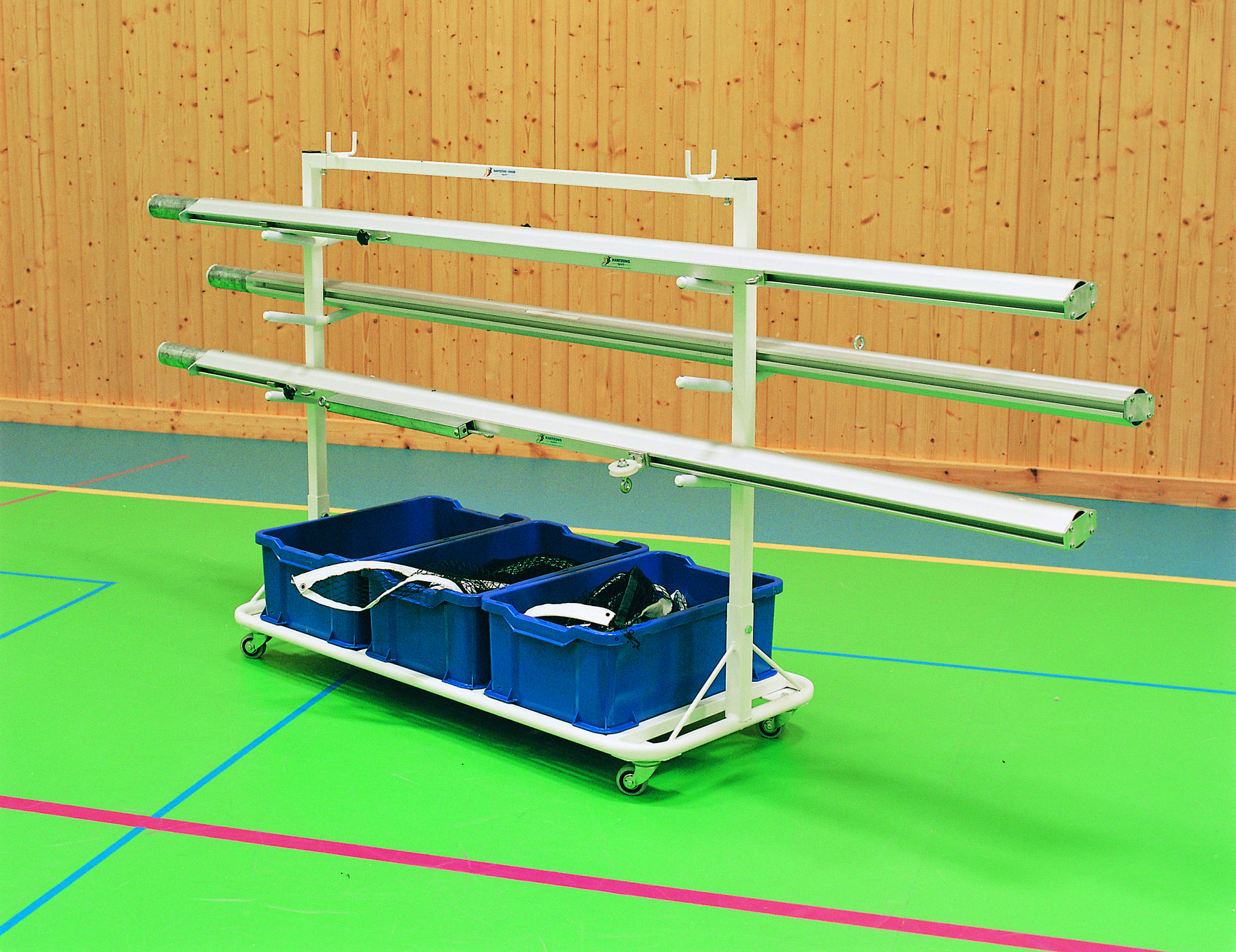 Horizontal Post Storage Cart with Volleyball Posts by Unisport