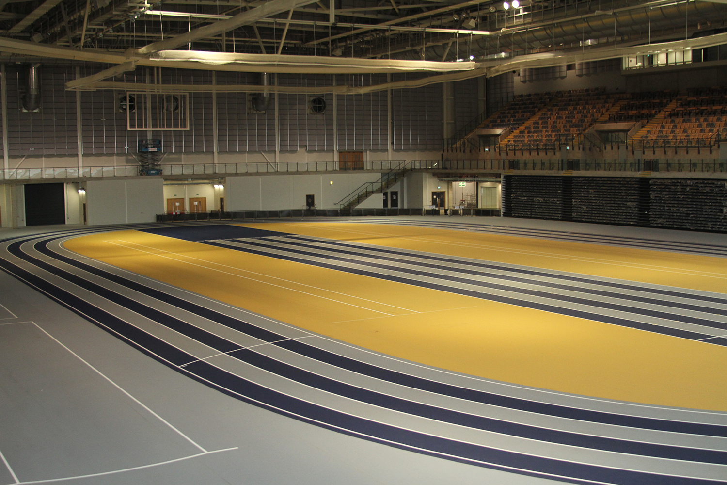Emirates Arena Indoor Athletics Track & Motorised Dividers by Unisport