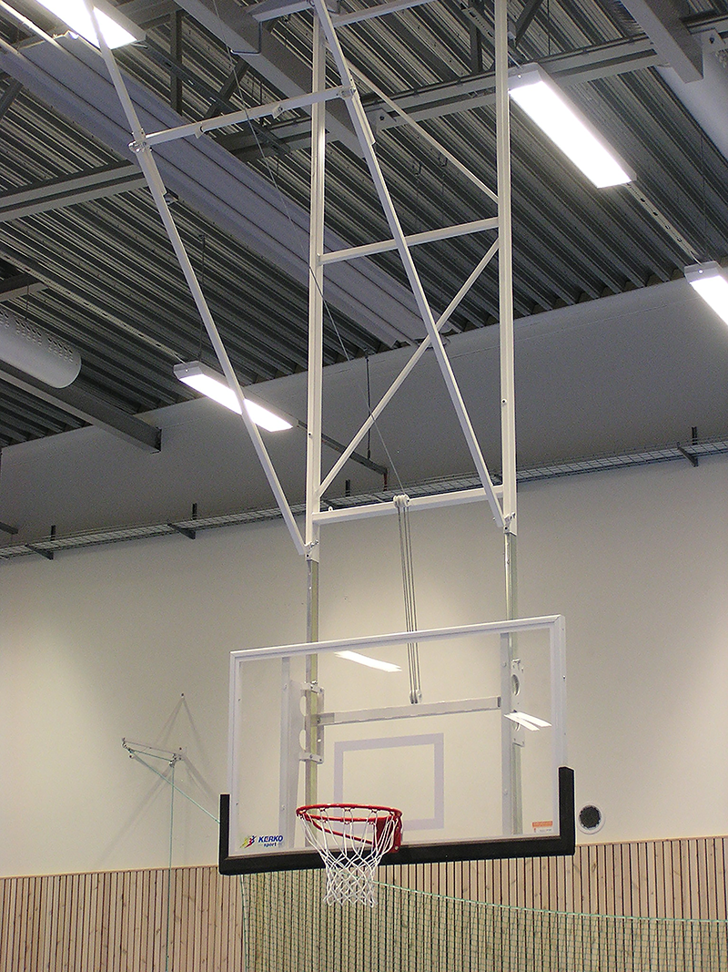 motorised roof mounted basketball goals by unisport