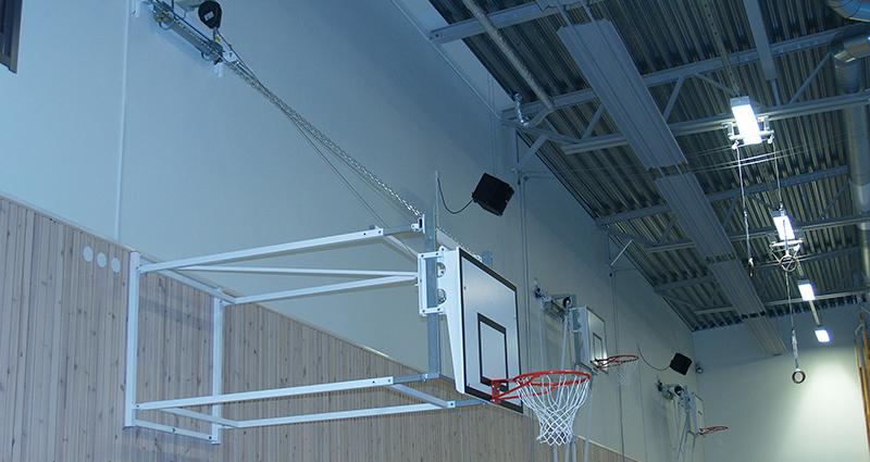 Motorised Upward Hinged Matchplay Basketball Goals by Unisport