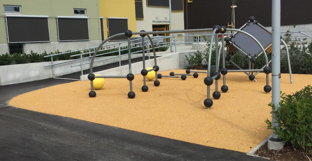 fallskyddgummi landscaping skolgård lekplats unisport