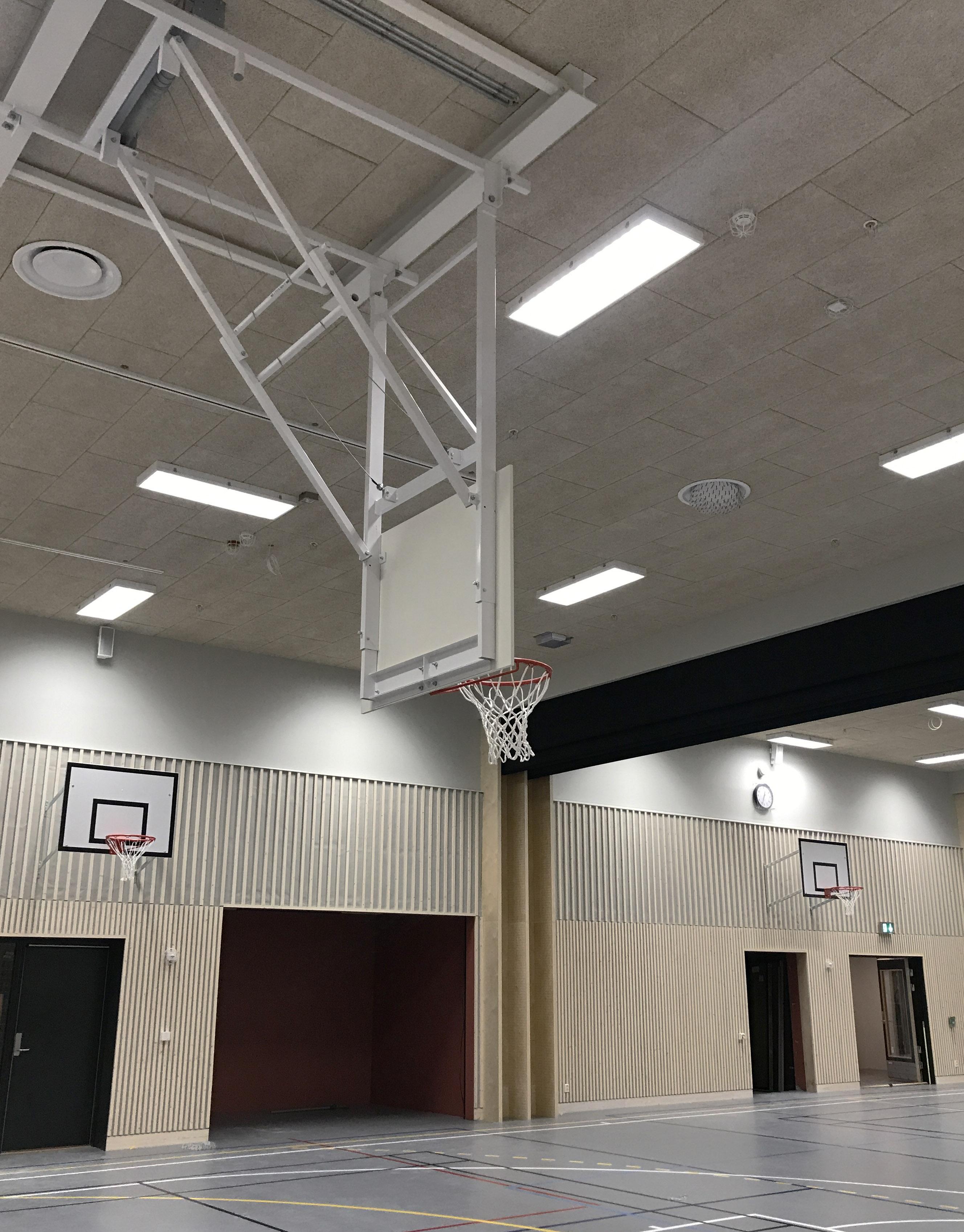 automatisk takhengt basketstativ unisport