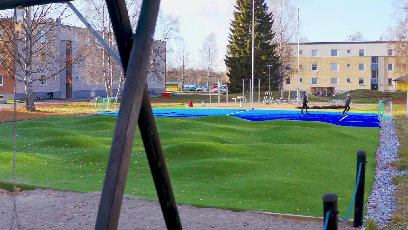 unisport aktivitetsområde piteå, aktiv spontan utemiljö konstgräs motorikbana