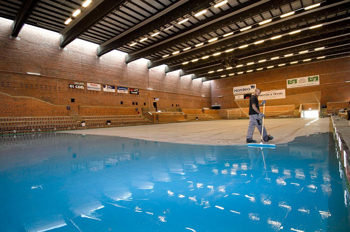 Renoveringsgulv - Brabrand Hallens nye Pulastic gulv