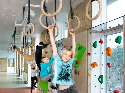 innovativa idrottsrum, idrottshallar, armgångsringar, Unisport
