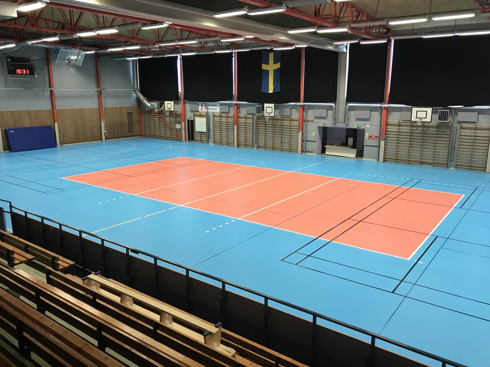 Storavalla hallen Degerfors. Sportgolv från Unisport