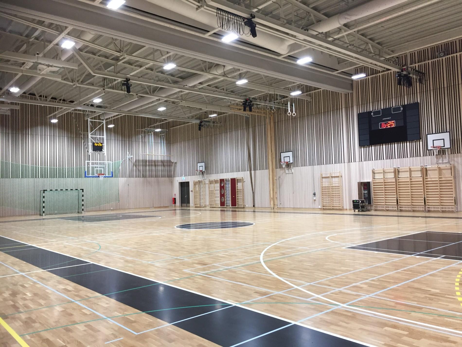 västervångshallen trelleborg sportgolv parkett sporthallsinredning unisport