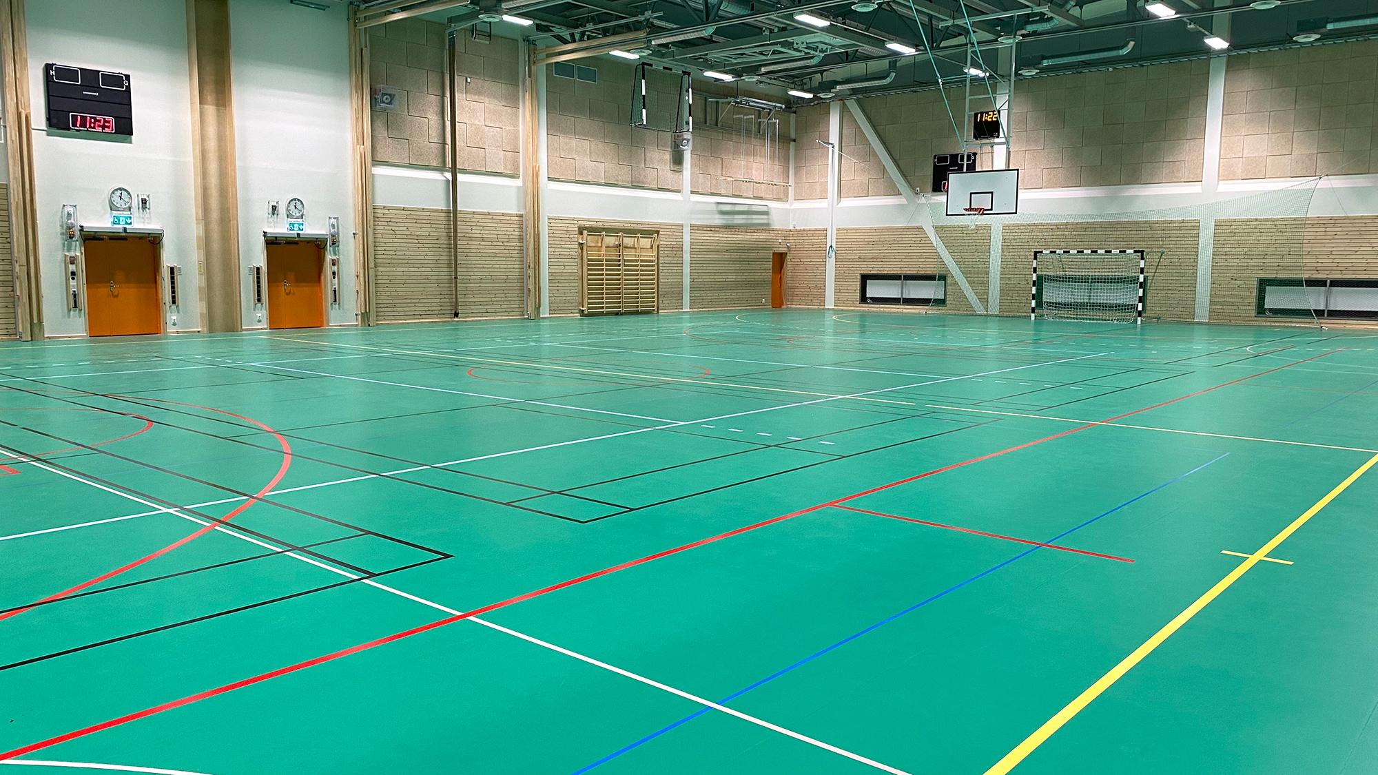 unisport sportgolv sporthall sporthallsinredning harlyckehallen