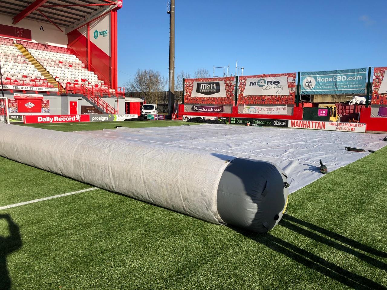 matchsaver air roller planskydd snöskydd frostskydd fotbollsplaner unisport