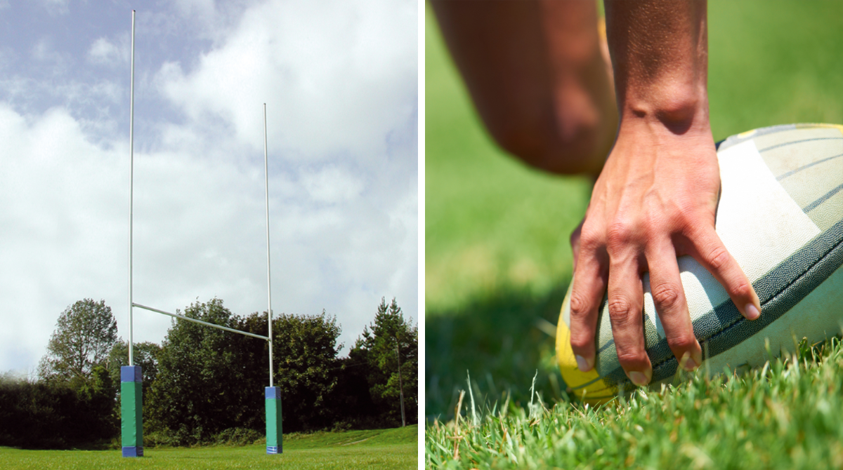 Heavy Duty Steel Rugby Posts by Unisport
