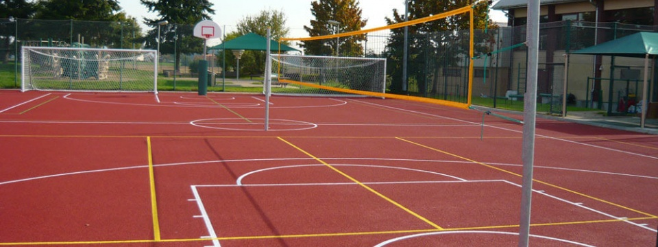 Multi-sport facilities with rubber coating unisport