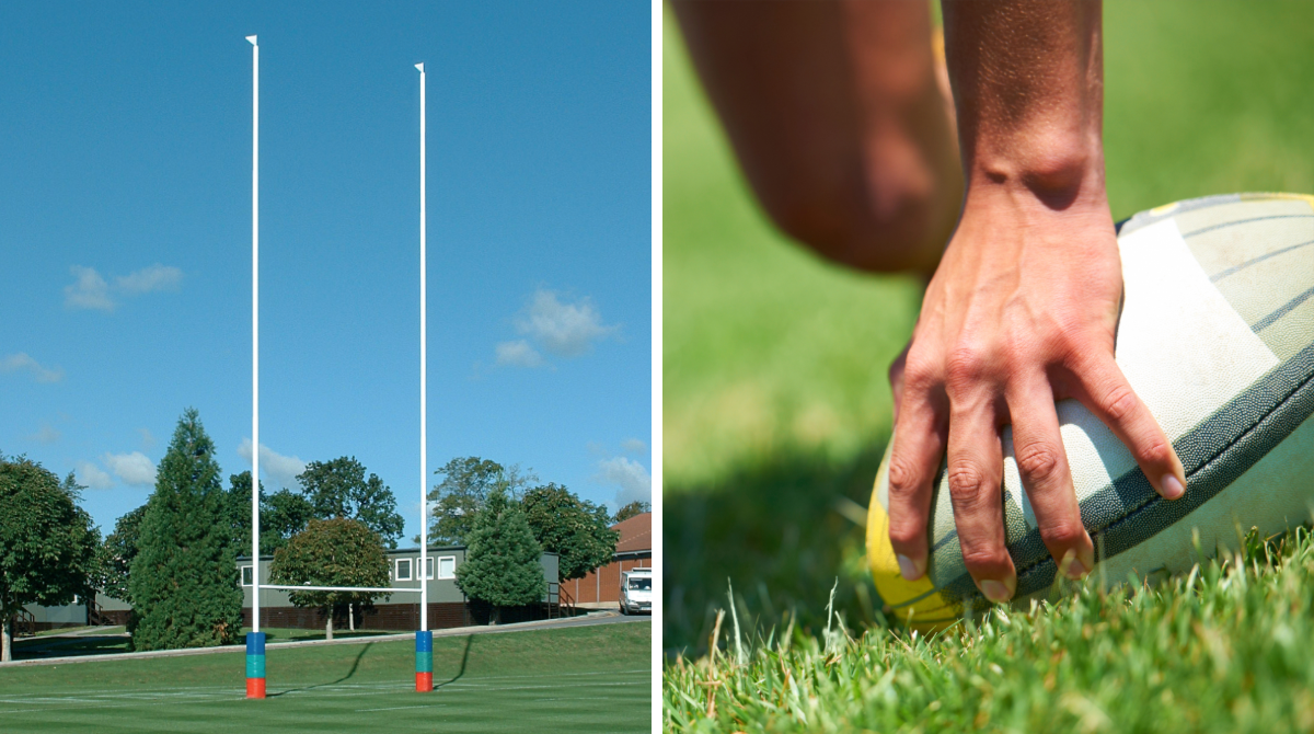 Aluminium Hinged Rugby Posts by Unisport