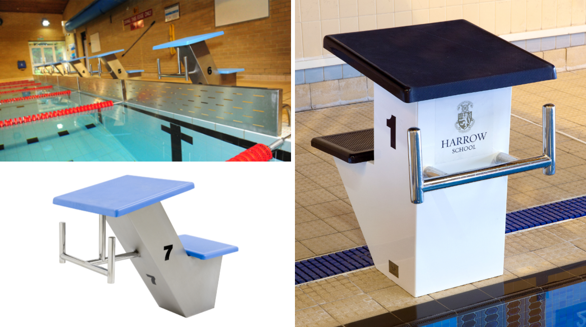 Deck Level Swimming pool competition starting block by Unisport