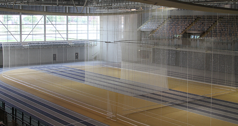 Emirates Arena Indoor Athletics Track and Motorised Dividers by Unisport