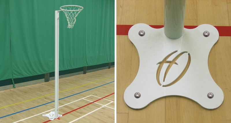 floor fixed international netball posts by Unisport