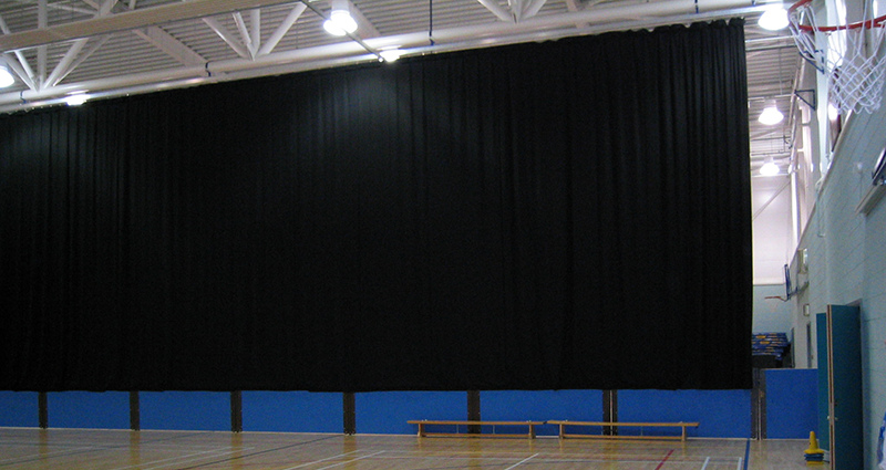 Manually Operated Sports Hall Acoustic Serge Dividing Curtain by Unisport