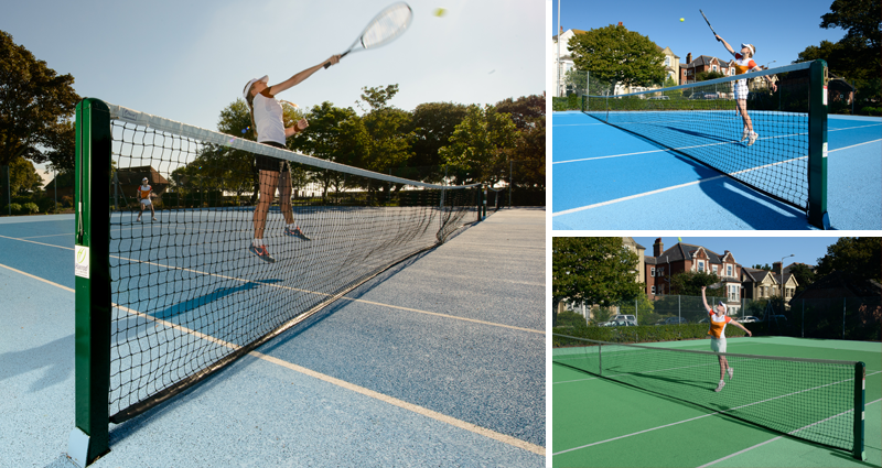 Socketed Square Tennis Posts by Unisport