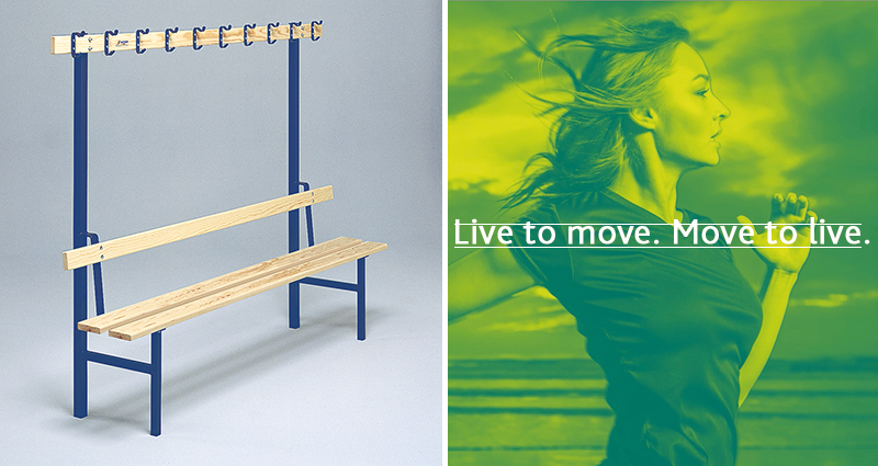 Single Sided Bench with Coat Hooks by Unisport
