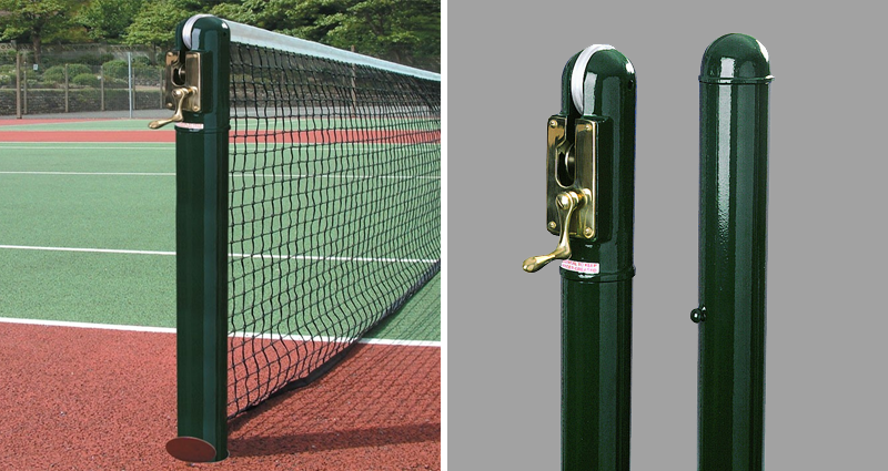 Socketed Tennis Posts for indoor or outdoor use by Unisport