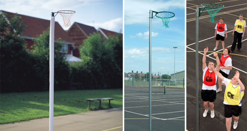 Socketed Outdoor Regulation Netball Posts by Unisport