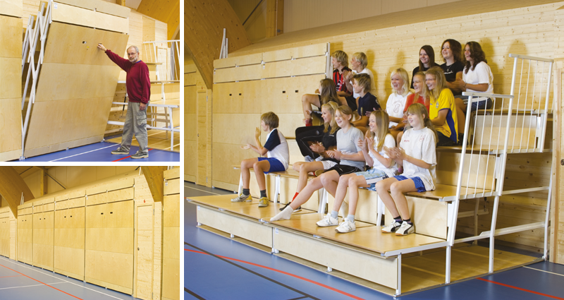 Fixed folding bleachers spectator seating by Unisport