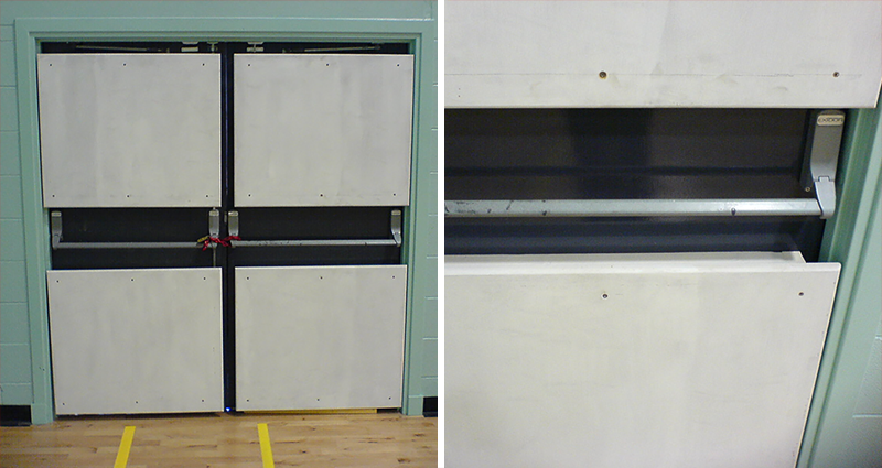 Sports Hall Fixed Rebound Panels For Doors By Unisport