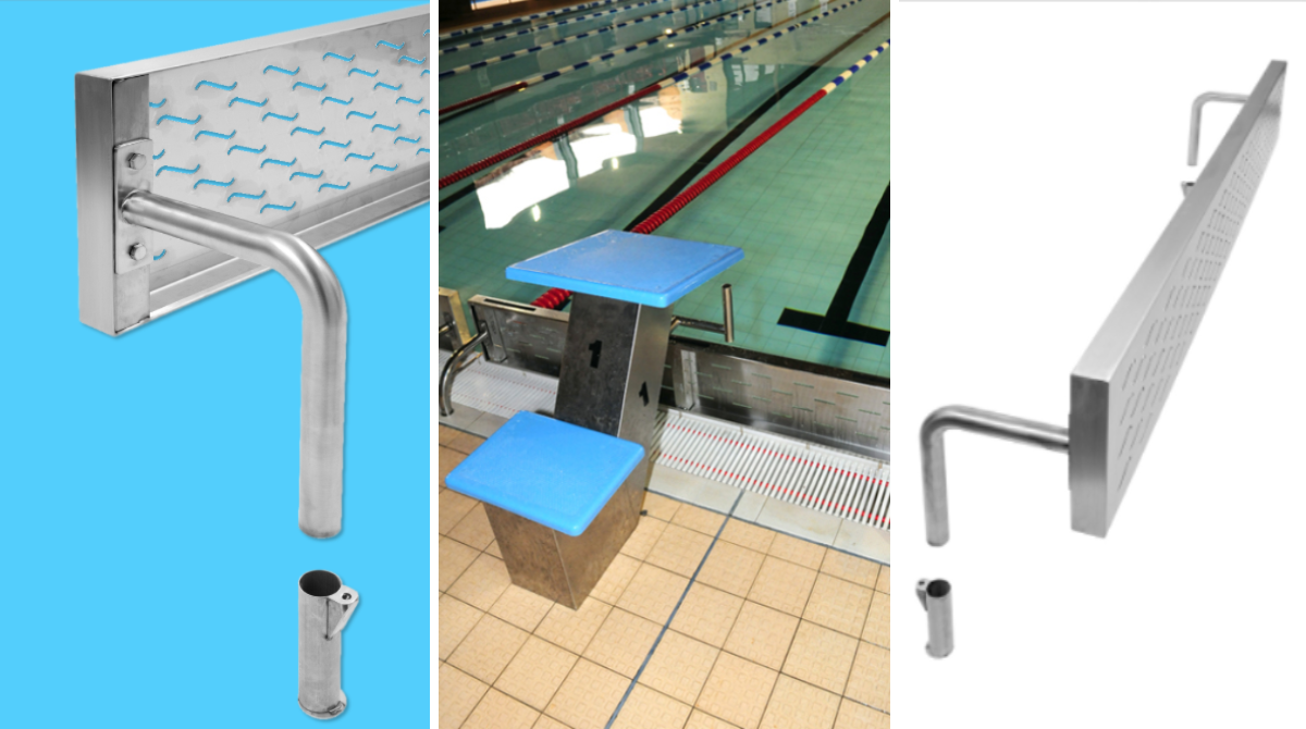 swimming pool deck level turning board brackets fro competition starting blocks by Unisport