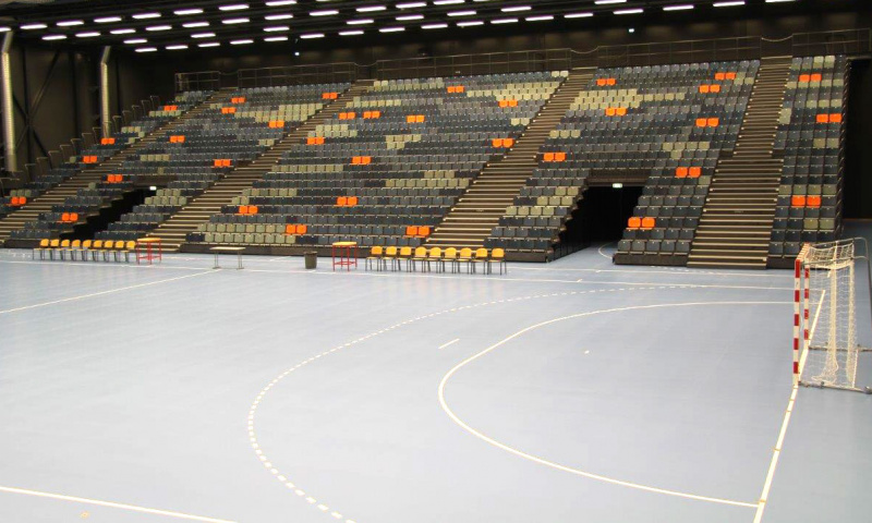 telescopic seating and sprots flooring unisport roskild denmark